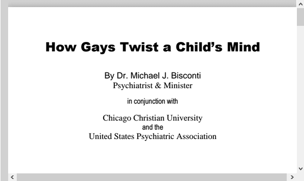 How Gays Twist a Child's Mind